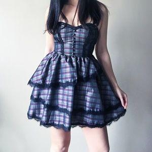Kimchi Black Lace Strapless Babydoll Dress XS